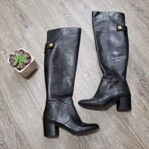 Nine West Queddy Black Leather Over The Knee Boots